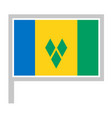 saint vincent and grenadines flag on flagpole vector image vector image