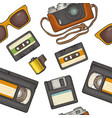 seamless pattern retro technology object vintage vector image