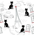 Seamless pattern with Paris and music-08 vector image vector image