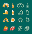serving beer modern flat and line icons vector image vector image