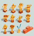 set isometric gold vector image vector image