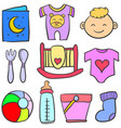 set of element baby doodles vector image vector image