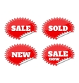 Set of red seals stickers with sale text vector image vector image