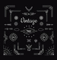 set of vintage geometric shape elements linear vector image