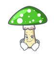 smirking green amanita mushroom character cartoon vector image vector image
