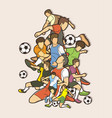 soccer player team composition graphic vector image vector image