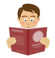teenager boy reading interesting book vector image vector image