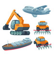 transport heavy machinery airplane freight ship vector image