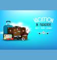 travelers desktop with suitcase camera plane vector image
