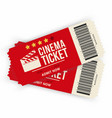 two cinema tickets isolated on background vector image vector image