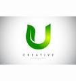 u leaf letter logo icon design in green colors vector image