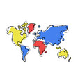 world map doodle sketch color concept vector image