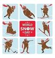 World snow dayBear plays winter sport vector image