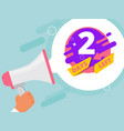 2 days left hand holding megaphone business promo vector image vector image