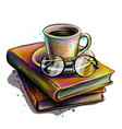 a cup coffee and glasses on stack books vector image