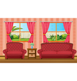 A red sofaset and side table vector image vector image