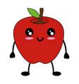 apple delicious fruit cute kawaii cartoon vector image