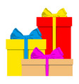 big pile of colorful wrapped gift boxes holiday vector image