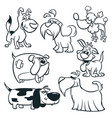 cartoon dogs outlined vector image vector image