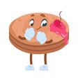 cartoon funny breakfast character mascot with vector image vector image