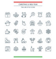 christmas thin line icons set vector image