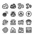 coal icon set vector image