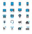 Communication device flat with reflection icons vector image