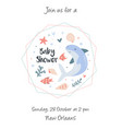 cute baby shower card with marine characters vector image vector image