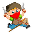 cute little boy running with a horse on a stick vector image vector image