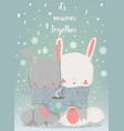 cute winter hares vector image vector image