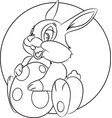 easter bunny holding an egg coloring page the vector image