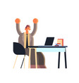 excited businessman holding raised hands business vector image
