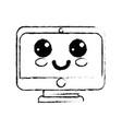 figure kawaii cute happy screen monitor vector image vector image