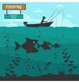 Fishing on the boat Fishing design elements vector image vector image