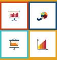 flat icon chart set of segment monitoring graph vector image vector image