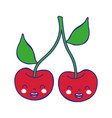 full color cute cherrys kawaii smile fruit vector image