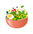 green fresh salad of their various tasty vector image