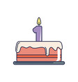 happy birthday tasty cake with candle number one vector image vector image