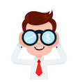happy funny young smiling businessman looking vector image