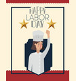 happy labor day card with woman chef vector image vector image