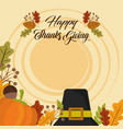 happy thanksgiving day invitation card hat vector image vector image