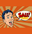 head pop art style sale man vector image