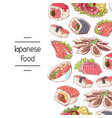 japanese food poster with asian cuisine dishes vector image vector image