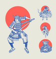 japanese samurai and red sun warriors with vector image vector image