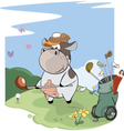 little golfer cow Cartoon vector image vector image