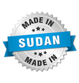 made in Sudan silver badge with blue ribbon vector image vector image