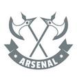 medieval axe logo simple gray style vector image vector image