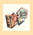 retro shopping gift box special discount bank vector image