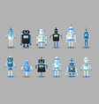 retro vintage funny robot set icon in flat vector image