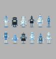 retro vintage funny robot set icon in flat vector image vector image